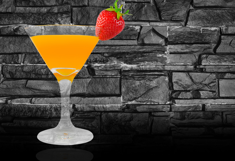 Mimosa cocktail with strawberry